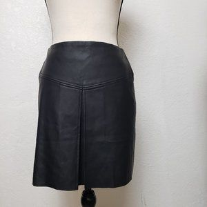 Club Monaco Faux Leather Pleated Skirt